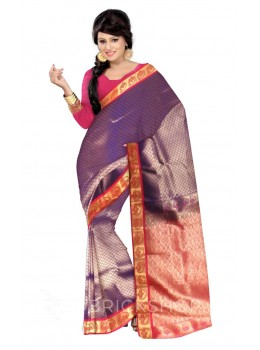 SMALL FLOWER PURPLE, PINK, GOLD KANJEEVARAM SILK SAREE