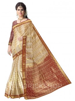 LEAF FLORAL CREAM, BROWN, GOLD KANJEEVARAM SILK SAREE