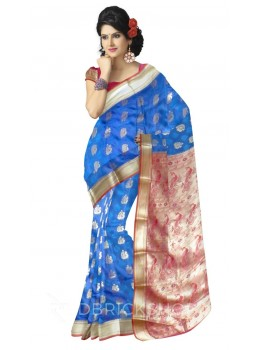 PEACOCK DHOOP CHHAON AQUAMARINE BLUE, MAUVE, RED, GOLD KANJEEVARAM SILK SAREE