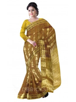 PINEAPPLE MUSTARD, BROWN, GOLD KANJEEVARAM SILK SAREE