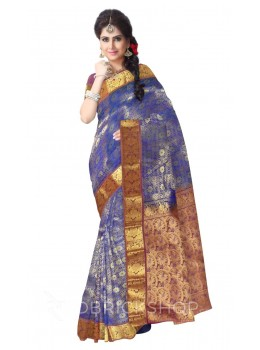 FLORAL PAISLEY DHOOP CHHAON BLUE, PURPLE, GOLD KANJEEVARAM SILK SAREE