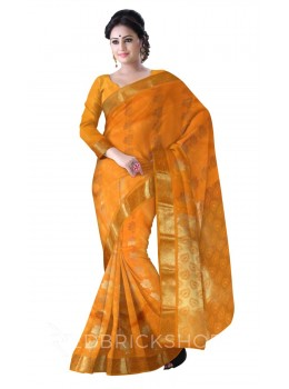 FLOWER ORANGE, GOLD KANJEEVARAM SILK SAREE
