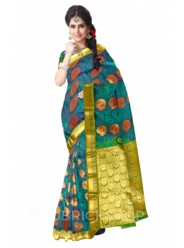 BIG FLOWER DHOOP CHHAON GREEN, MAUVE, GOLD KANJEEVARAM SILK SAREE