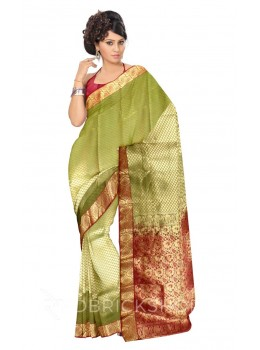 SPADE DHOOP CHHAON LIGHT GREEN, MAROON, GOLD KANJEEVARAM SILK SAREE
