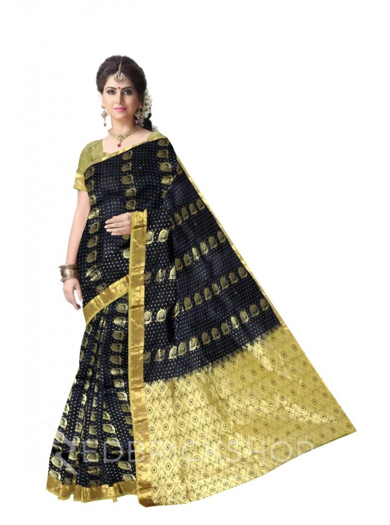LEAF BLACK, MUSTARD, GOLD KANJEEVARAM SILK SAREE