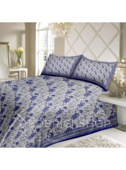 BAGRU BLOCK PRINT BIG FLOWER WHITE, BLUE COTTON BED COVER SET - 1 DOUBLE BED COVER AND 2 PILLOW CASES
