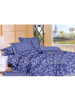 BAGRU BLOCK PRINT BIG FLOWER BLUE, WHITE COTTON BED COVER SET- 1 DOUBLE BED COVER AND 2 PILLOW CASES