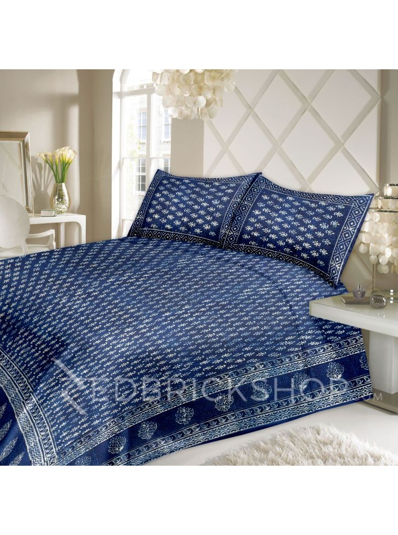 BAGRU BLOCK PRINT FLORAL INDIGO, BLUE COTTON BED COVER SET- 1 DOUBLE BED COVER AND 2 PILLOW CASES