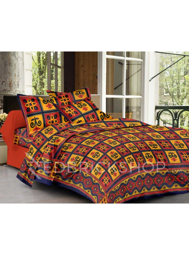 BAGRU BLOCK PRINT FLORAL SQUARE RED, YELLOW, BLUE COTTON BED COVER SET- 1 DOUBLE BED COVER AND 2 PILLOW CASES