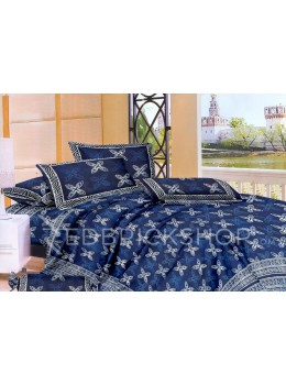 BAGRU BLOCK PRINT BIG FLOWER INDIGO, BLUE BED COVER SET- 1 DOUBLE BED COVER AND 2 PILLOW CASES