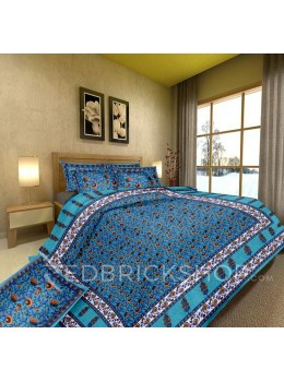 BAGRU BLOCK PRINT FLORAL VINE WHITE, TURQUOISE BLUE BED COVER SET- 1 DOUBLE BED COVER AND 2 PILLOW CASES