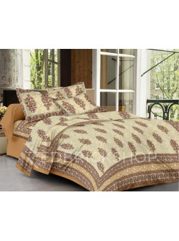 BAGRU BLOCK PRINT SHRUB CREAM, MAROON BED COVER SET- 1 DOUBLE BED COVER AND 2 PILLOW CASES