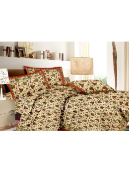 BAGRU BLOCK PRINT FLORAL LEAF CREAM, RED, GREEN BED COVER SET- 1 DOUBLE BED COVER AND 2 PILLOW CASES