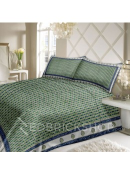 BAGRU BLOCK PRINT LOTUS WHITE, BLUE BED COVER SET- 1 DOUBLE BED COVER AND 2 PILLOW CASES