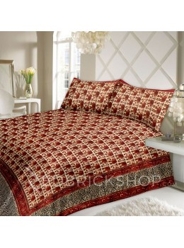 BAGRU BLOCK PRINT ELEPHANT BEIGE, RUST BED COVER SET- 1 DOUBLE BED COVER AND 2 PILLOW CASES