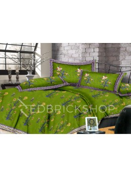 BAGRU BLOCK PRINT BIG FLORAL VINE GREEN BED COVER SET- 1 DOUBLE BED COVER AND 2 PILLOW CASES