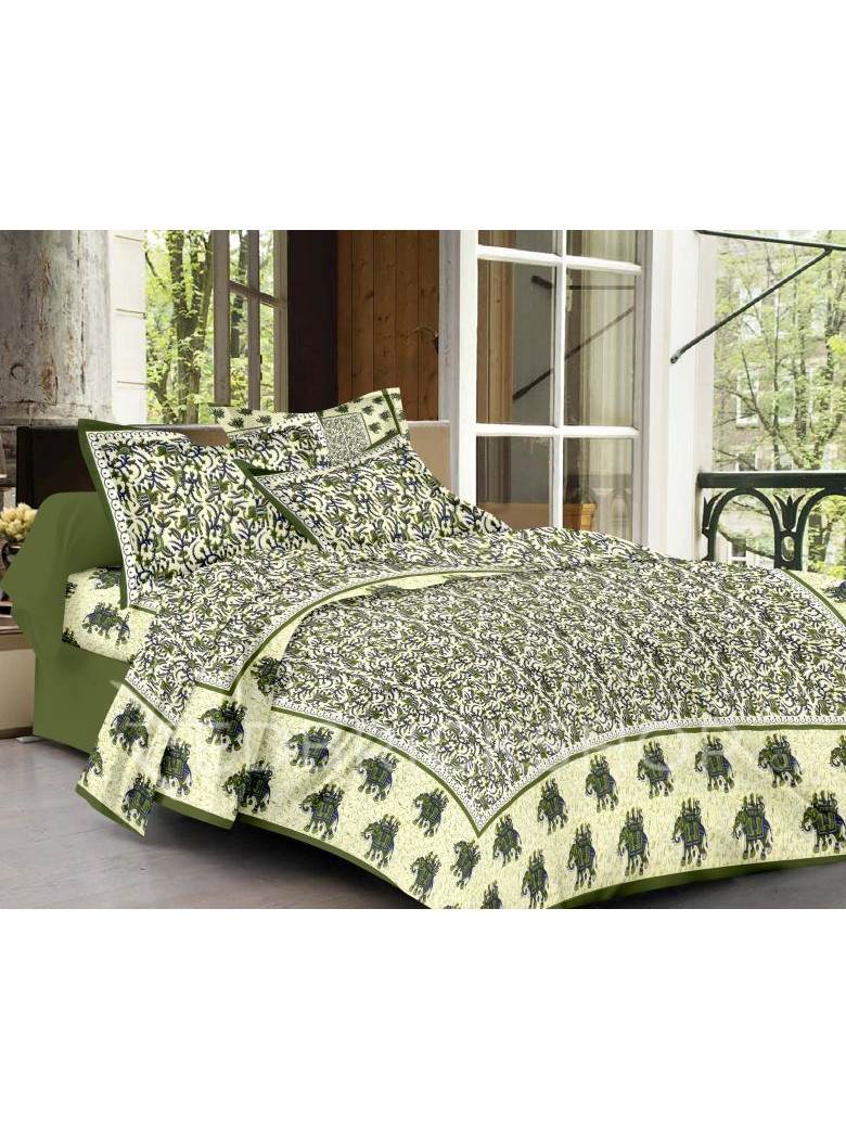 BAGRU BLOCK PRINT ELEPHANT CREAM, GREEN BED COVER SET- 1 DOUBLE BED COVER AND 2 PILLOW CASES