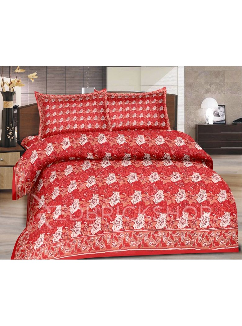 BAGRU BLOCK PRINT BIG FLOWER RED, PEACH BED COVER SET- 1 DOUBLE BED COVER AND 2 PILLOW CASES