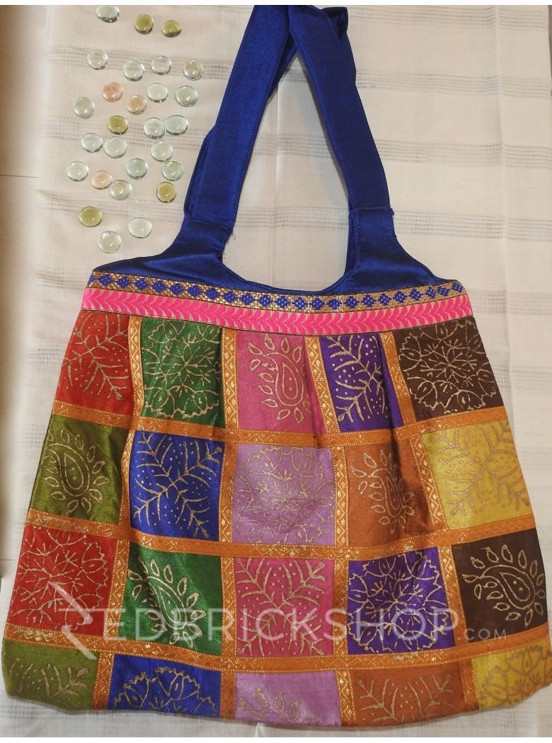 JAIPURI PRINT MULTI NAVY JHOLA BAG