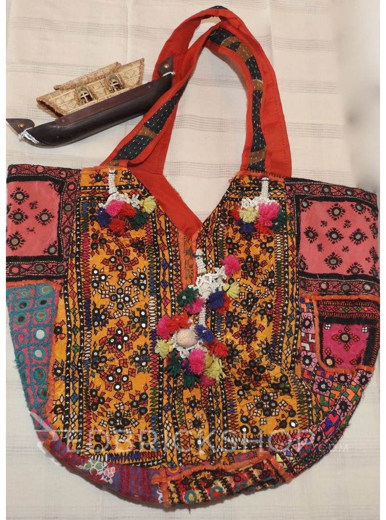 LIGHT EMBROIDERY MIRROR MUSTARD-PINK TOTE BAG