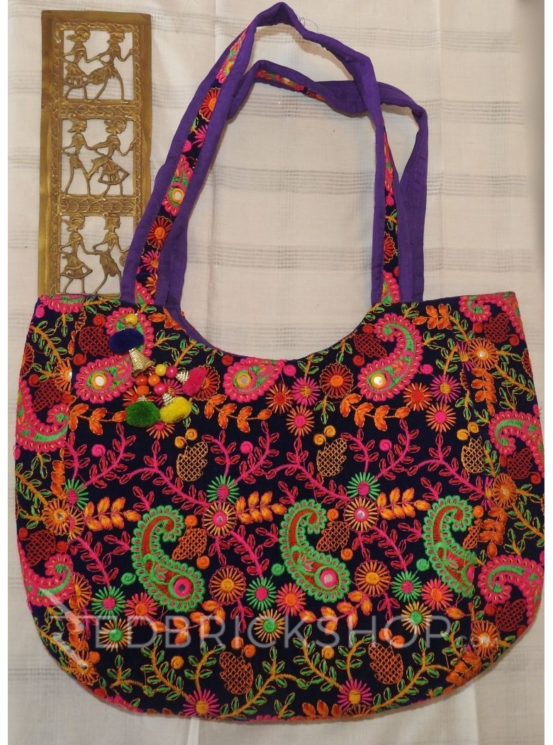 VELVET EMBROIDERY PAISLEY ROYAL BLUE-GREEN-PINK TOTE BAG