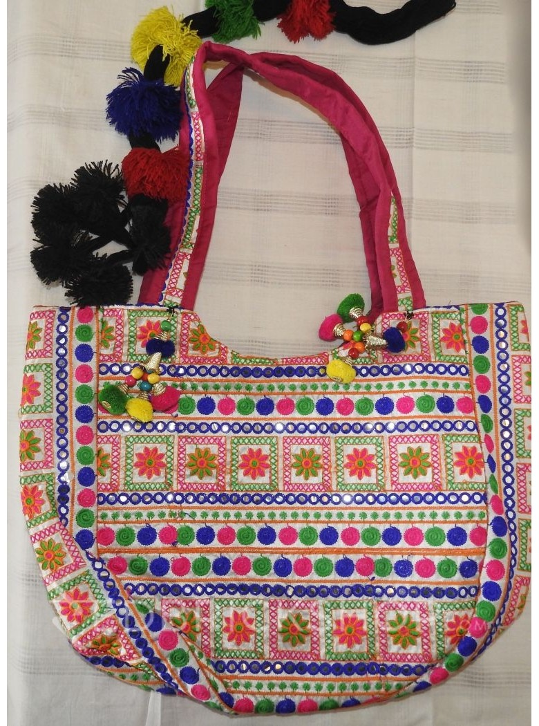 HEAVY EMBROIDERY FLORAL ROYAL BLUE-PINK-GREEN TOTE BAG