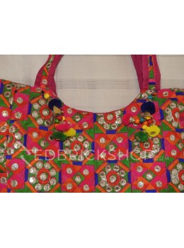 ZARI FLOWER PINK-GREEN-ORANGE TOTE BAG