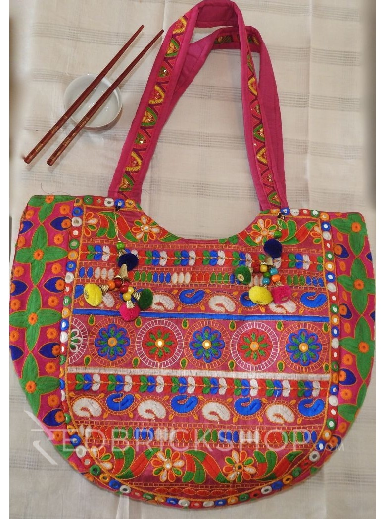 EMBROIDERY FLORAL PINK-RED-BLUE TOTE BAG