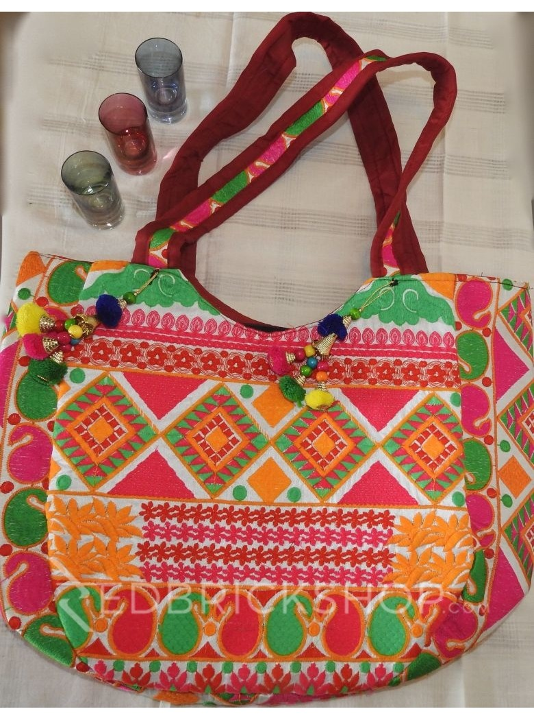 EMBROIDERY DIAMOND PINK-RED-GREEN TOTE BAG