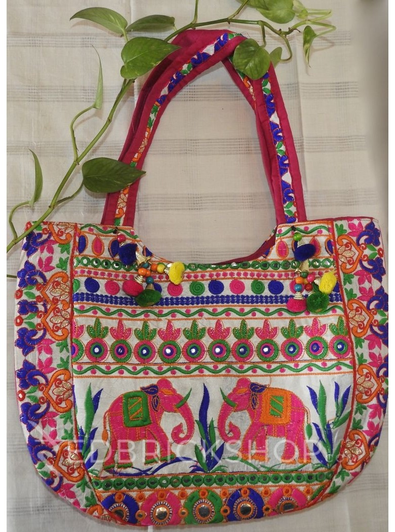 EMBROIDERY ELEPHANT PINK-GREEN-BLUE TOTE BAG
