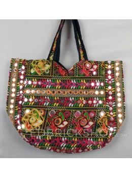 SQUARE MIRROR POMPOM BLACK, MULTI KUTCHI TOTE BAG