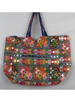 SQUARE MIRROR POMPOM BLUE, MULTI KUTCHI TOTE BAG