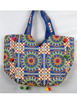 CIRCLE FLORAL POMPOM BLUE, MULTI KUTCHI TOTE BAG