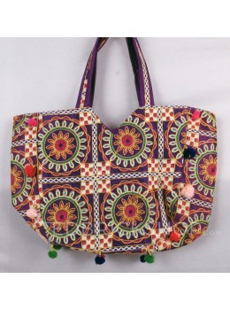 CIRCLE FLORAL POMPOM PURPLE, MULTI KUTCHI TOTE BAG