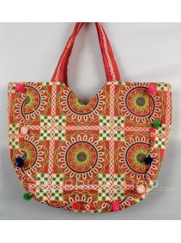 CIRCLE FLORAL POMPOM RED, MULTI KUTCHI TOTE BAG