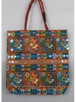 SQUARE MIRROR MAROON, MULTI KUTCHI JHOLA BAG