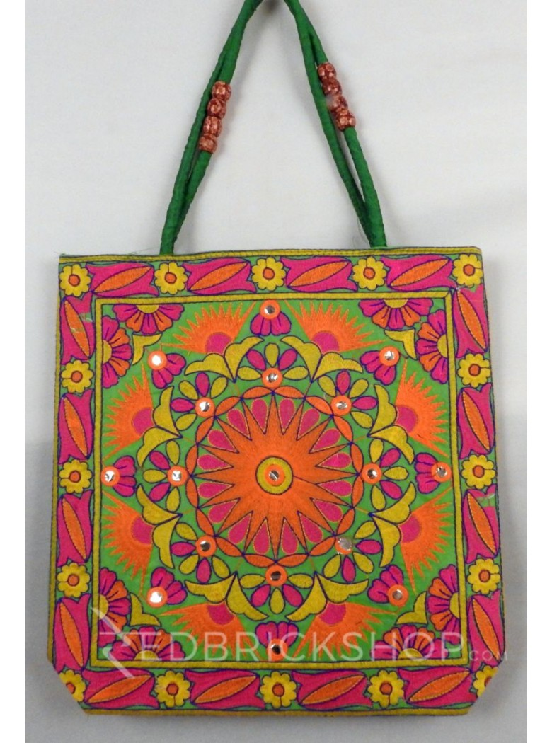 SUN FLORAL GREEN, ORANGE, PINK KUTCHI JHOLA BAG