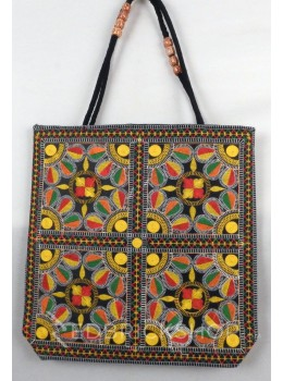 FOUR SQUARE LEAF BLACK, MULTI KUTCHI JHOLA BAG