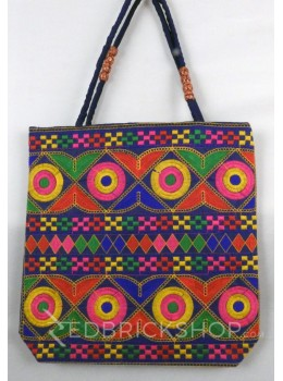 DIAMOND CIRCLE BLUE, MULTI KUTCHI JHOLA BAG