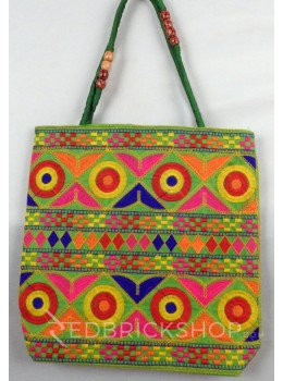DIAMOND CIRCLE GREEN, MULTI KUTCHI JHOLA BAG