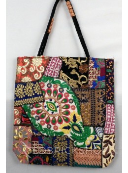 LEAF FLORAL ZARI BLACK, MULTI KUTCHI JHOLA BAG
