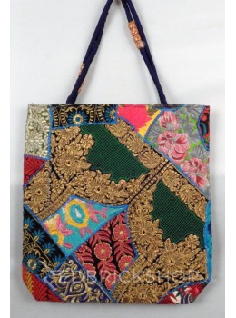 LACE FLORAL ZARI BLUE, MULTI KUTCHI JHOLA BAG