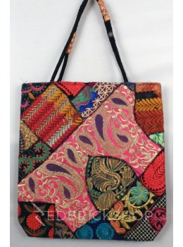 PAISLEY LEAF ZARI BLACK, MULTI KUTCHI JHOLA BAG