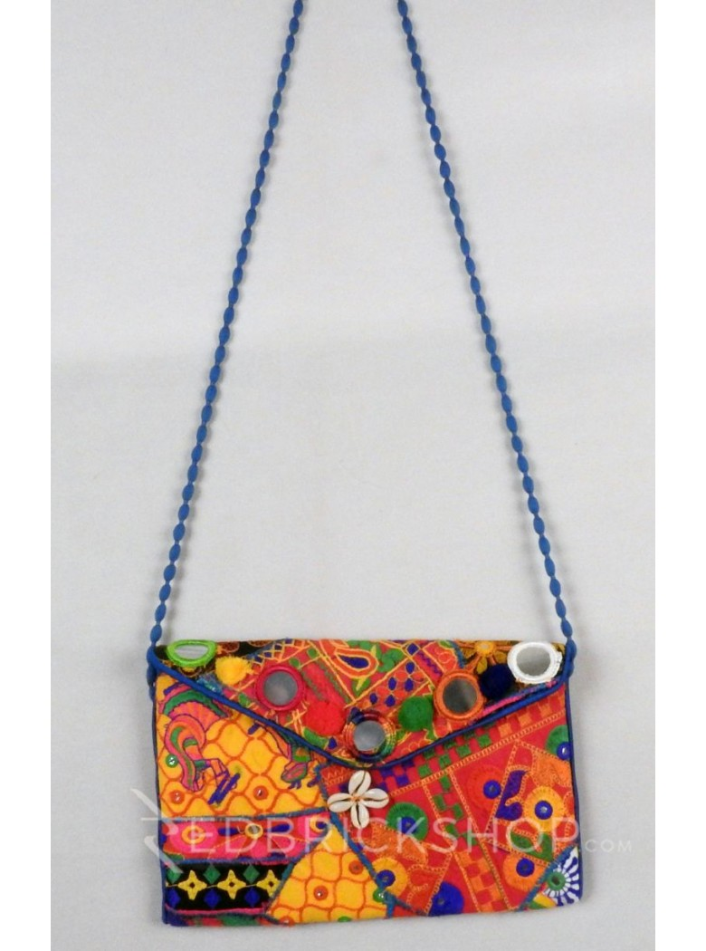 GIRL MIRROR COWRIE BLUE, MULTI KUTCHI SLING BAG