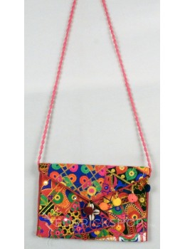CIRCLE  POMPOM COWRIE PINK, MULTI KUTCHI SLING BAG