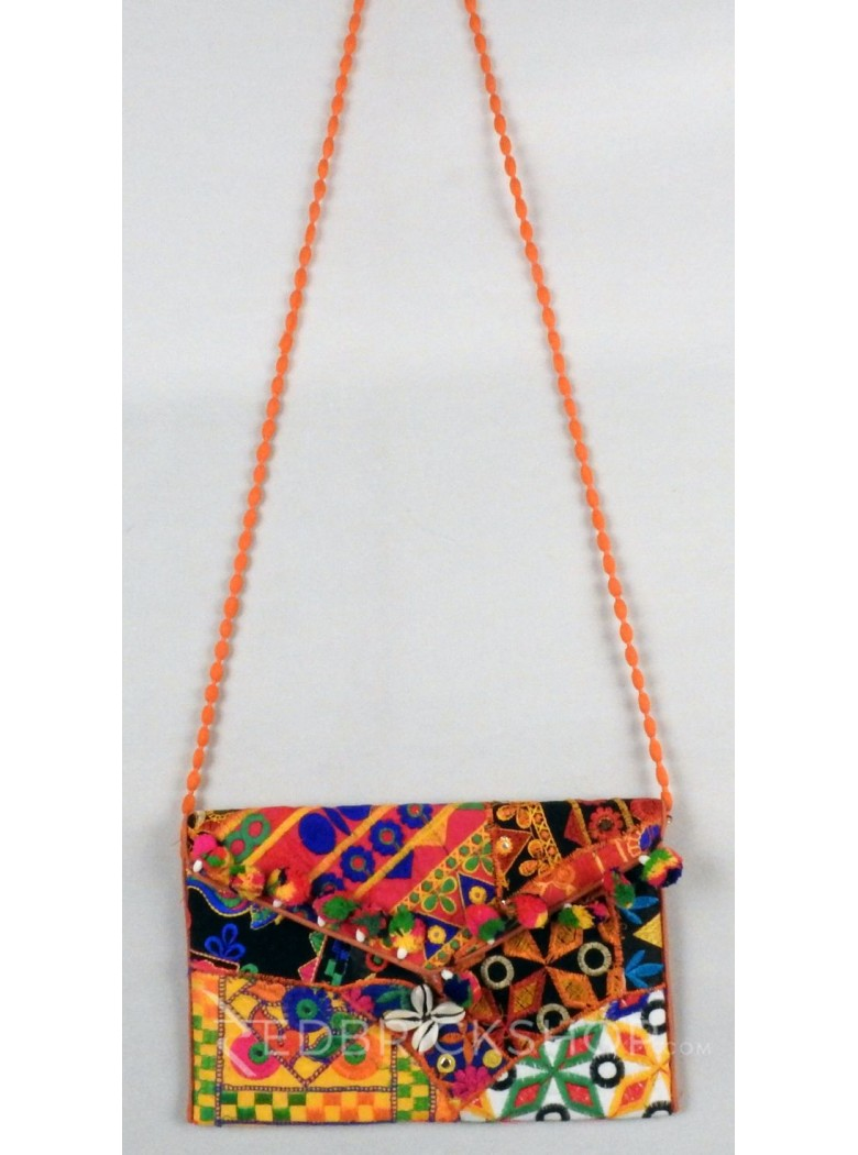 DIAMOND POMPOM COWRIE ORANGE, MULTI KUTCHI SLING BAG