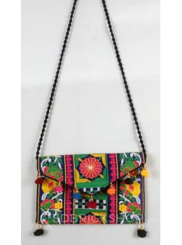 FLORAL SQUARE POMPOM DARK BLUE, MULTI KUTCHI SLING BAG
