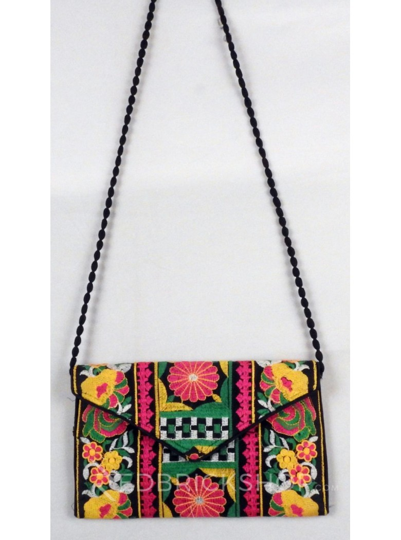 FLORAL SQUARE BLACK, MULTI KUTCHI SLING BAG