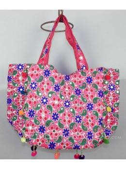 PAISLEY FLORAL POMPOM PINK, GREEN KUTCHI TOTE BAG