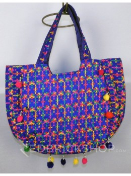 FLORAL STITCH BLUE KUTCHI TOTE BAG
